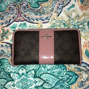 Brown and Mauve/ Dusty Pink Coach Wallet